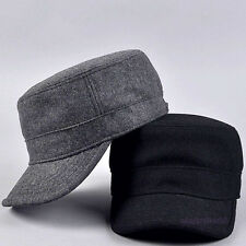Mens Military Army Style Hat Cap Flat Top Winter Warm Solid Color