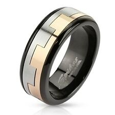 Mens/Womens Stainless Steel PUZZLE SPINNER black/gold aztec Wedding Band Ring