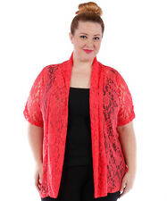 YUMMY Coral Lace Open Cardigan~Plus Size~NWOT~4X 5X 6X~Short Sleeve Jacket Shrug