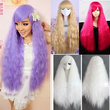 Fashion Colorful Weave Hair Long Curly Wave Full Wigs Cosplay Costume Party Wig