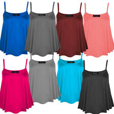 New Ladies Plus Size Strappy Swing Crop Tops Mini Flare Vest Tops 8-22