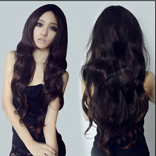 Fashion New Weave Hair Full Long Curly Wavy Hair Wigs Women Cosplay Brown Wigs