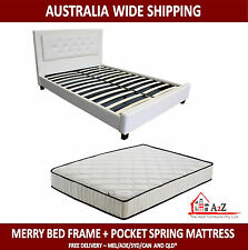 Brand New Merry Black PU Leather Bed Frame + Pocket Spring King Mattress