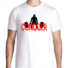 CONQUER BODY BENCH PRESS GYM FUNNY CROSSFIT HEALTH RUNNING WORKOUT TRAIN T SHIRT