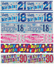 Girls Boys Unisex Birthday Party Banner Age 18th,21st 40th,60th Holo Banners