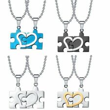 Valentine Gift Women Men Couple Lover Stainless Steel Puzzle Pendant Necklace