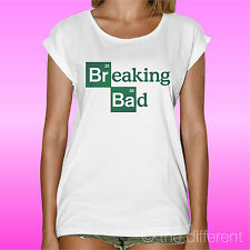 "T-SHIRT DONNA ""LOGO TELEFILM BREAKING BAD  "" IDEA REGALO ROAD TO HAPPINESS"