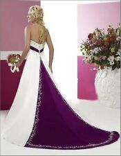 New White/Purple Wedding Dresses Bridal Gown In Stock Size 6 8 10 12 14 16 18