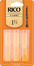 Rico Bb Clarinet Reeds (Pack Of 3) - Strength 1.5 / 2.0 / 2.5 / 3.0 / 3.5