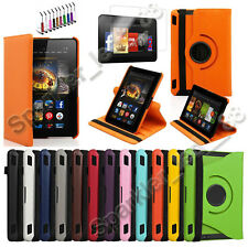 "360 Rotating PU Leather Case Cover w Stand For Amazon HDX 7"" Kindle Fire"