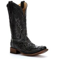 Corral Mens Black Snake Inlay Square Toe Boot A2159
