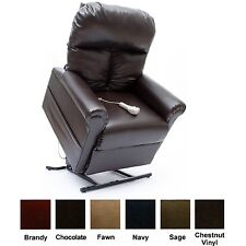 New ChestNut Vinyl Easy Comfort LC-100 Power Lift Chair Recliner + Heat Massage