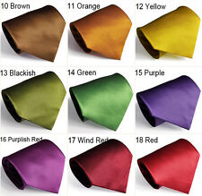New 2014 Solid Plain Polyester Men's Jacquard Woven Necktie 4 inches 30 Colors