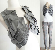 NEW Gray Ruffle Trim Front, Solid Back Cropped Length Unique Trendy Vests Top