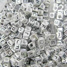 New Silver Alphabet Black Letters 6mm Square Cube Acrylic Loose Beads Jewelry