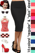 HIGHWAIST 50s PINUP Style Essential PENCIL Skirt ~ Reg. & Plus Sizes - 2 Colors!