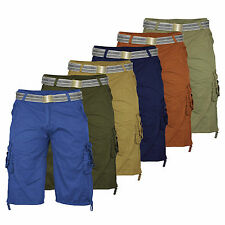 Mens Military Cargo 3/4 Shorts Combats Summer Cotton Pants With FREE Belt Army