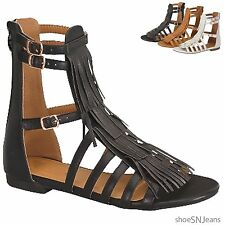 New Women Adjustable High Ankle Strappy Roman Gladiator Sandals Buckle Zip Shoes