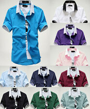New Summer Men's Short Sleeve shirts Fitted Tops Handsome Casual T-shirt 5 Size