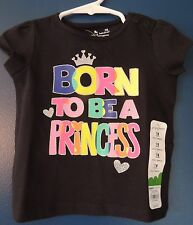 Girls 12 18 Months BORN TO BE A PRINCESS 1st Birthday Shirt NEW NWT S/S Sparkly