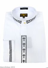 New Mens Clergy Neckband Shirt, White w/Black Cross Embroidery, Clerical