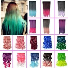 "38 Colors 24"" Rainbow Fading Colorful Hair Extensions Curly Straight 5 Clips"