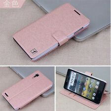 4colors Folio Wallet Flip Leather Case Cove + LCD Film for Lenovo P780 a