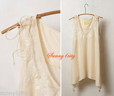 New Sz M Anthropologie Embroidered Afterglow Peasant Top By Maeve, Silk, Ivory