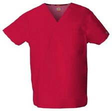 Dickies Scrubs 83706 V Neck Unisex Scrub Top Dickies EDS Red