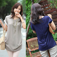 Sexy Women's Chiffon Short Sleeve V-neck Loose Blouse Top Pullover T-shirt New