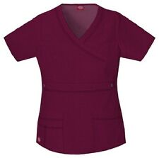 Dickies Scrubs 817355 V Neck Scrub Top Dickies GenFlex Jr Fit Wine
