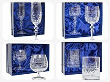 PERSONALISED CRYSTAL PAIR OF GLASSES Brandy Wine Champagne Whisky Glass Gift