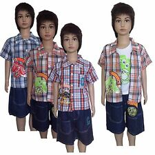 Boys New Summer 3 piece set-Checked Vest/ Shirt &T-shirt/ Top& Shorts/Pants #149