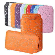 BLING Diamond Leather PULL UP TAB Cord Pouch Case Cover Bag For Samsung Series