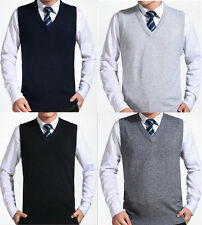 New Mens Casual Slim Dress Solid Color Pullover V-neck Sleeveless Sweater Vest