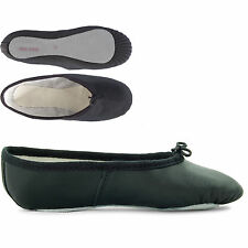 Black Leather Full Sole Ballet Dance Shoes Childrens Girls By Dance Gear BLSS