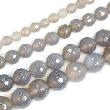 Faceted Gray Agate Round Beads Pick Size 6mm 8mm 10mm free shipping