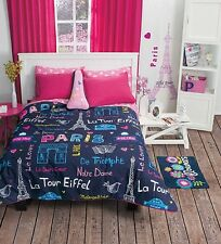 New Girls Teens Blue Pink Paris Eiffel Tower Comforter Bedding Set Reversible