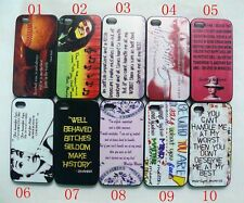 Marilyn Monroe Hepburn Rihanna Bob Marley Quotes Skin Cover Case For iPhone 4 4S