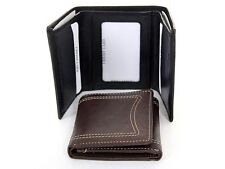 Leather Stitched 6 Credit Card 1 ID TriFold Double Bill Men's Wallet