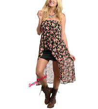 A055 Black Floral Western Country Girl Grunge Style High Low Tube Chiffon Dress