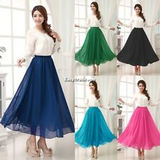 "Womens Double Layer Chiffon Elastic Waist Long Pleated Maxi Skirt ""CA"" ESY1"