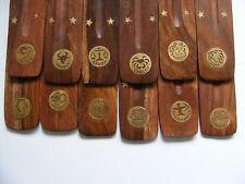 ZODIAC ~ Star Sign ~ Carved Wooden Brass Inlay Incense Burner Ash Catcher Holder