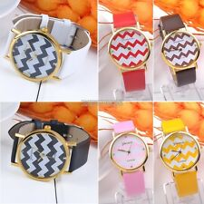 Women Ladies Stripes Watch PU Leather Man Analog Quartz Wrist Watches Gift EP98