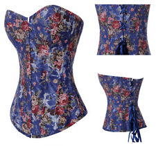 Blue Overbust Denim Rose Sexy Corset Bustier Top Goth Boned Outfit Fashion Dress