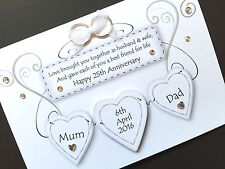 Handmade personalised wedding Anniversary plaque card (can request colours)