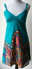 Anthropologie ARYEH vintage boho chic teal LINED sundress, cheerful leaf pattern