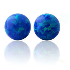 14K Solid Yellow Or White Gold Round Cut Fiery Blue Opal Push Back Stud Earrings