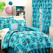 Teen Girl Blue Turquoise PEACE SIGN TIE DYE Bedding Comforter Set+Valance+Drapes