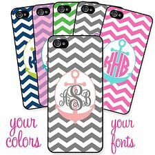 Monogrammed Case for iPhone 4 4S 5 5S Chevron Anchor Personalized Custom Cover